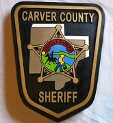 Police Carver County 3d Routed Carved Award Wood Patch Plaque Sign Custom