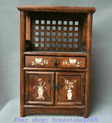 20.2 Old Chinese Huanghuali Wood Inlay Shell Dynasty Flower Drawer Cupboard