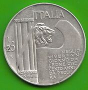 Italy 20 Lire 1928 10 Years End 1. World War Almost Xf Nice Nswleipzig