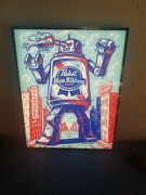 Pabst Beer Led Light Up Sign Robot City Of Milwaukee Bar Game Room Man Cave Mib