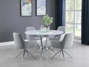 Round Glass Chrome Lazy Susan White Dining Table Grey Swivel Chair Furniture Set