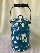 Rare Antique Graniteware Cream Can Milk Pail Can Columbian Blue And White 11 Tall