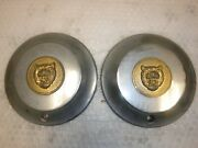 Vintage 7and039and039 Jaguar Center Caps Pair Xke Hubcaps Hub Covers
