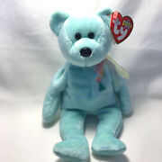 Ty Beanie Baby Ariel 2000 Plush Blue Bear With Flowers And Sun On Chest Mint