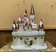 Beautiful Disney Village Light Up Victorian Castle Mickey And Minnie Mouse No Plug