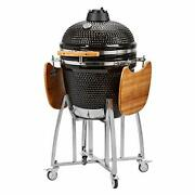 Humos Ceramic Kamado Charcoal Grill, Bbq And Smoker Egg Versatil Outdoor 3 In 1 Bl