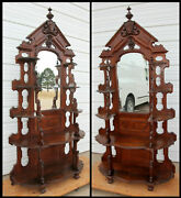 Old Victorian 1873-1883 Tiered Walnut Etagere Beveled Mirror Burrell Comstock Co