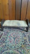 Antique Early Primitive Handmade Wood Stool Straw Stuffed Make Do Doll Bed 15.5