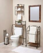 Scrolled Metal And Seagrass Bathroom Collection Storage And Racks Separates