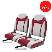 High Back Folding Boat Seats Red And White Pontoon Marine Seats For Boats 2-pack