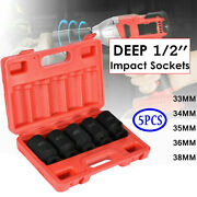 5pcs 1/2and039and039 Drive 12 Point Deep Spindle Axle Nut Socket Set 33 34 3536 And 38 Mm