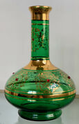 Vintage Rossini Empoli Vase. Green Glass With Gold And Red Crystals. Handmade