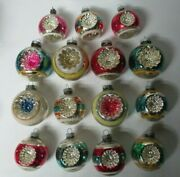 15 Vintage 1960's Usa Glass Christmas Ornaments - Double Indent