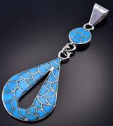 Silver And Turquoise Scallop Design Zuni Inlay Pendant By Lynelle Johnson 1f22d