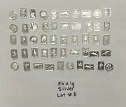 50 All Different 1g .999 Silver Bullion Bars And Rounds Lot 8