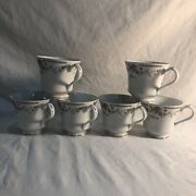 """Liling Fine China Pearl Cups W/ """"josephine"""" Pattern Set Of 6"""