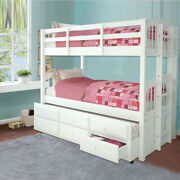Convertible Twin Over Twin Bunk Beds Frame With Trundle Drawers Ladder White Us