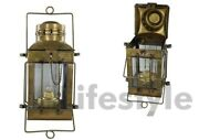 Nautical Antique Anchor Oil Pair Lamp Boat Cargo Ship Brass Lantern Two Lamps