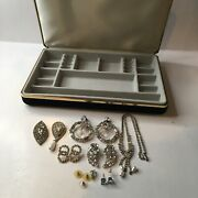 Vintage Antique High Quality Costume Jewlery Lot W/ Case See Photos