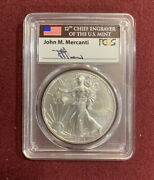 2014-w 1 Burnished Silver Eagle Pcgs Sp70 Mercanti Signed