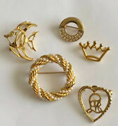 Lot Of 5 Vintage Gold Tone Brooches Pins Unbranded Circle Love Fish Crown