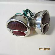 1928-31 Ford Model A Stainless Tail Lights With Glass Lenses New Pair.
