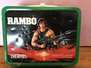 Rambo Metal Lunch Box Lunchbox With Thermos 1985 Vintage