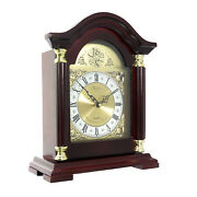 Redwood Oak Finish Mantle Or Desk Clock Roman Numeral Face 4 Different Chimes