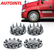 Chrome Removable Front Hub Cover Circle Hubcap Pointed Circle Covers Semi Truck