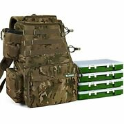 Rodeel Fishing Tackle Backpack 2 Fishing Rod Holders With 4 Tackle Boxes, I.camo