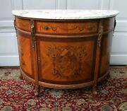 Antique Milano Inlaid French Cabinet Marble Top Demilune Commode Cabinet