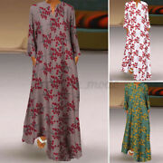 Women's Party Gown Night Retro Ethnic Floral Long Sleeve V Neck Maxi Shirt Dress