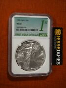 1986 1 American Silver Eagle Ngc Ms69 First Year Of Issue Green Label