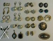 Big Lot Of Collection Of Vintage Women's Silver/other Metal Jewelry From Germany