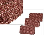 Vintage 4 Piece Slipcover Set Custom Made Cushion Covers And Skirt Red Pattern Htf