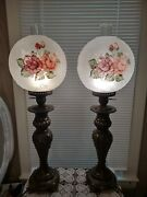 Hand Painted Roses Frosted Embossed Glass Boudoir Pillar Buffet Table Lamps 2