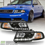 Black 1996-1999 Audi A4 Led Strip Drl Projector Headlights Headlamps Left+right