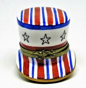 Limoges France Box - Uncle Samand039s Flag Hat - Stars And Stripes - Eagle - July 4th