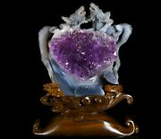 Amazing 10.0 Agate Amethyst Geode Carved Crystal Dragon Realistic 542