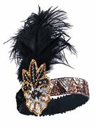 Black Gold Inspired 1920s Flapper Headband, Black Gold, Size One Size