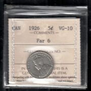F 25 Canada 5 Cents Coin 1926 Far 6 Vg+ Certified 185.00 Scarce Key Date