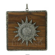 Natural Diamond Wood With Sun Square Pendant 925 Sterling Silver Jewelry 63mm