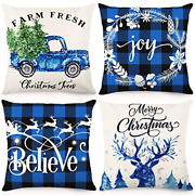 Cdwerd Christmas Pillow Covers 18x18inches Christmas Decorations Black And Blue