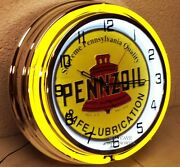 18 Pennzoil Safe Lubrication Sign Double Neon Clock Gas Station Oil Lube Grease