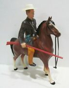 Hartland 1950's Jim Bowie Western Horse And Rider Set W/ Hat And Long Rifle Original