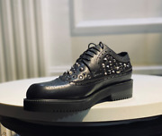 Menand039s Fashion Punk Gothic Rivet Lace Up Leather Shoes Black Carved Brogue Sydp