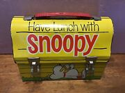 1968 Have Lunch Go To School With Snoopy Lunchbox Vintage W/thermos