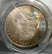 Pcgs Ms65 1896 Morgan 90 Silver Dollar - 2 Sided Colorful Crescent Toned
