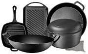 Pre Seasoned Cast Iron 7 Piece Set, Dutch Oven, Grill, Wok, Skillet And More