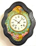 Large Antique Bulland039s Ox Eye Wall Clock Hand Painted Flowers 1880 French Pendulum